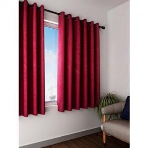 Cortina Elegant Texture 2 Piece Eyelet Polyester Window Curtain Set - 5ft, Maroon