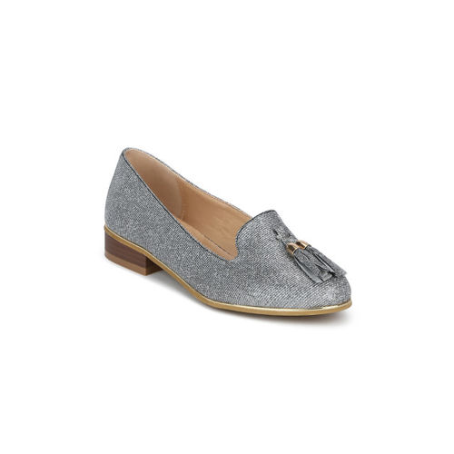 Truffle Collection Women Silver-Toned Solid Synthetic Ballerinas