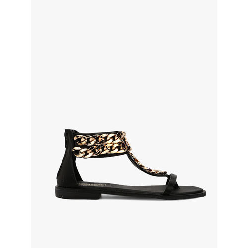 Truffle Collection Black Solid Synthetic Open Toe Flats