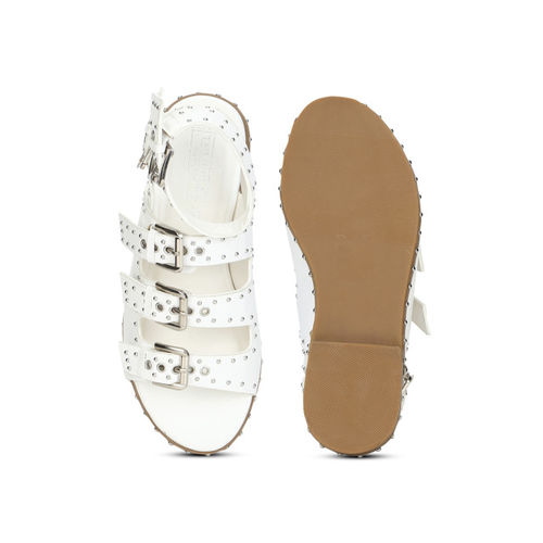 Truffle Collection Women White Solid Synthetic Gladiators