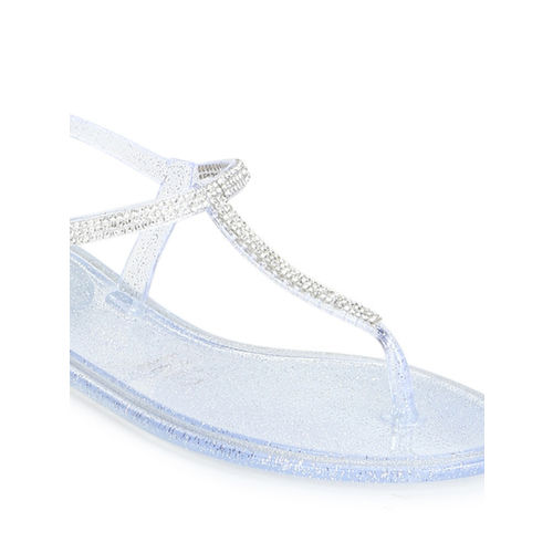 Truffle Collection Women White Embellished T-Strap Flats