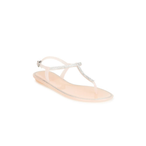 Truffle Collection Women Beige Embellished T-Strap Flats