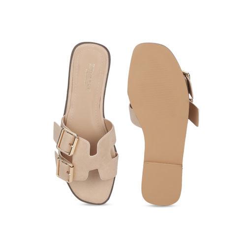 Truffle Collection Women Beige Solid Open Toe Flats