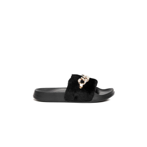 Truffle Collection Women Black Faux Fur Open Toe Flats