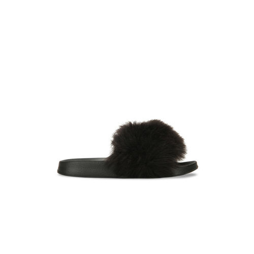 Truffle Collection Women Black Solid Synthetic Open Toe Flats