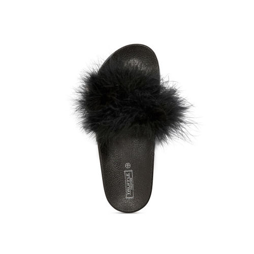 Truffle Collection Women Black Solid Open-Toed Flats