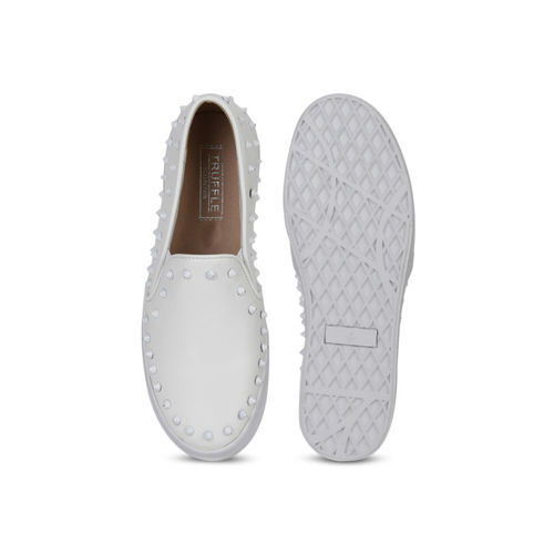 Truffle Collection Women White Studded Slip-On Sneakers