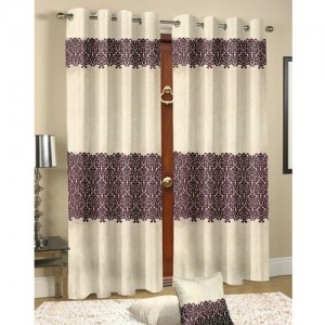 Cortina 210 cm (7 ft) Velvet Door Curtain Single Curtain(Motif, Coffee)