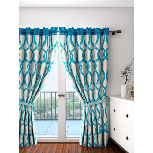 Cortina 210 cm (7 ft) Polyester Door Curtain Single Curtain(Floral, Blue)