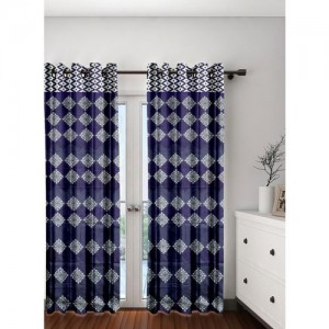 Cortina 210 cm (7 ft) Polyester Door Curtain (Pack Of 2)(Printed, Purple)