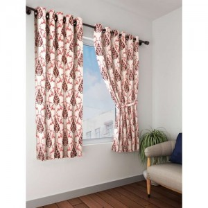 Cortina 150 cm (5 ft) Polyester Window Curtain (Pack Of 2)(Floral, Maroon)