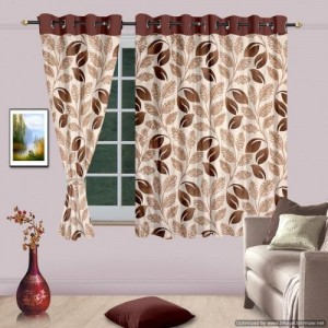 Cortina 150 cm (5 ft) Polyester Window Curtain (Pack Of 2)(Abstract, Brown)
