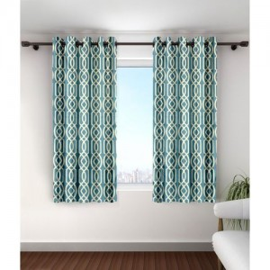 Cortina 150 cm (5 ft) Polyester Window Curtain (Pack Of 2)(Printed, Blue)