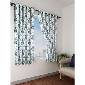 Cortina 150 cm (5 ft) Polyester Window Curtain (Pack Of 2)(Floral, Blue)