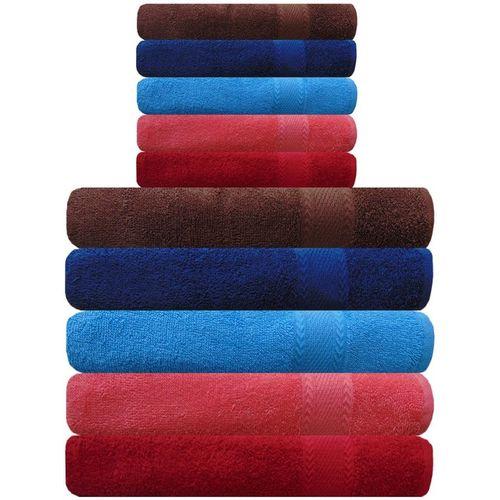 Akin Cotton 450 GSM Bath, Hand Towel Set(Pack of 10, Multicolor)