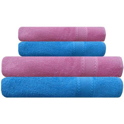 Akin Cotton 450 GSM Bath, Hand Towel Set(Pack of 4, Blue, Pink)