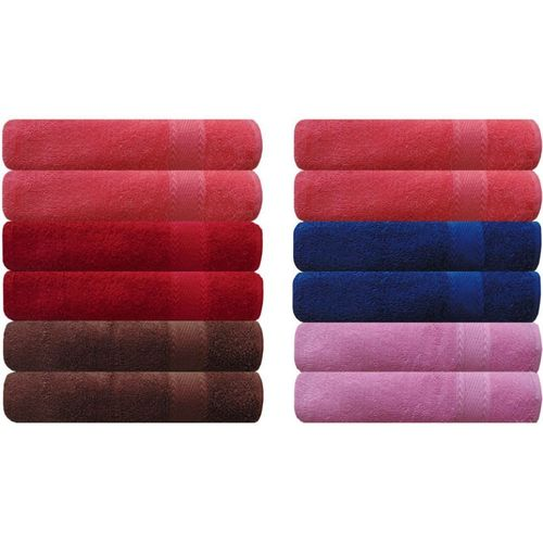 Akin Cotton 500 GSM Hand Towel(Pack of 12, Red, Peach, Blue, Brown, Pink)
