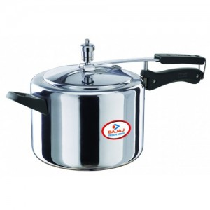 Bajaj Aluminium Pressure Cooker with Duo Inner Lid, 5L(Multicolour)