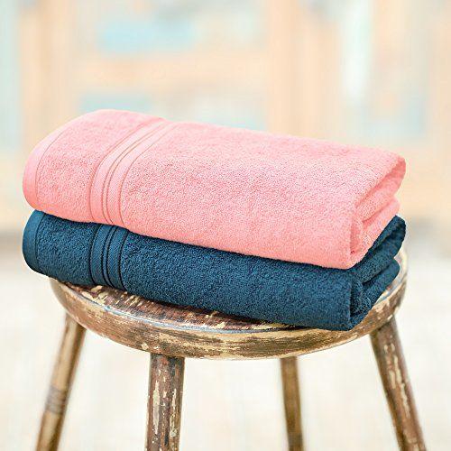 Swiss Republic Essential Plus 2 Piece 480 GSM Cotton Bath Towel Set - Light Pink and Dark Blue