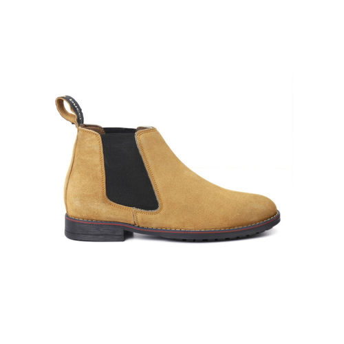 bacca bucci Men Tan Solid Leather High-Top Flat Boots