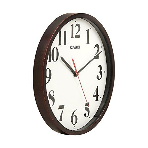 Casio Round Resin Wall Clock (30.5 cm x 30.5 cm x 4.3 cm, Brown, IQ-79-5DF)