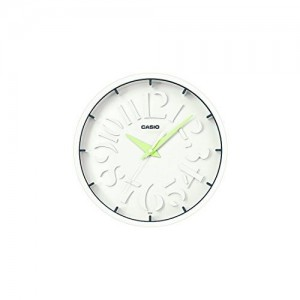 Casio Round Resin Wall Clock (30.5 cm x 30.5 cm, White, IQ-64-3DF)