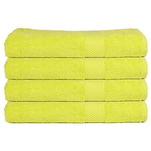 Trident 4 Piece Men's Cotton Bath Towel Set - Neon Brigh Green