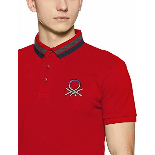 United Colors of Benetton Men's Solid Regular Fit Polo (18A3D89J1240I_17C_EL_Barbados Cherry(Red))