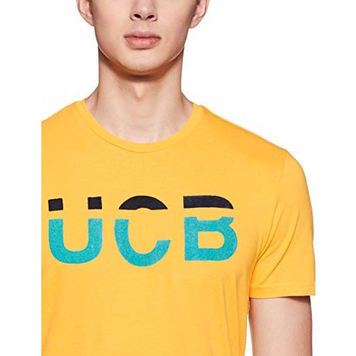 United Colors of Benetton Men's Printed Regular fit T-Shirt (19P3096J3055I_Y57_S_Yellow_Small)