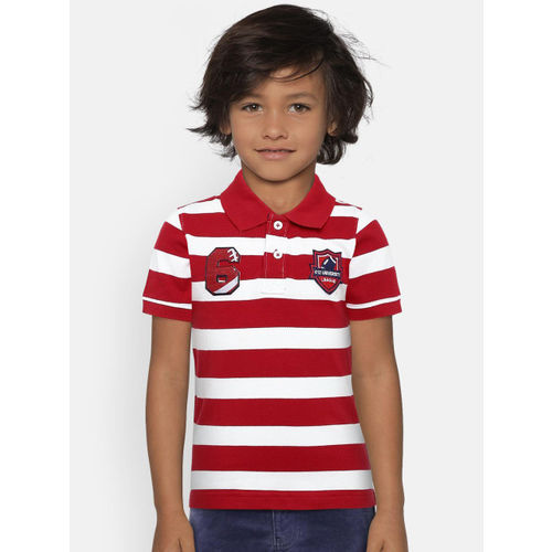 612 league Boys Red & White Striped Polo Collar T-shirt