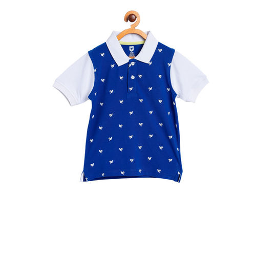 612 League Kids Blue Printed Polo T-Shirt