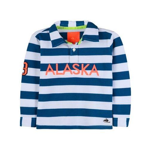 465de70d ... Cherry Crumble California Kids White & Blue Striped Polo T-Shirt ...