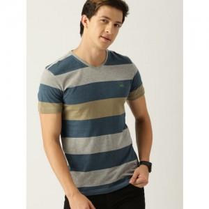 United Colors of Benetton Men Grey Melange & Blue Striped V-Neck T-shirt