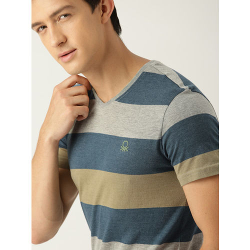United Colors of Benetton Men Grey Melange & Blue Striped V-Neck T-shirt