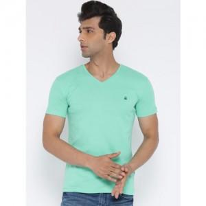 United Colors of Benetton Men Sea Green Solid V-Neck T-shirt