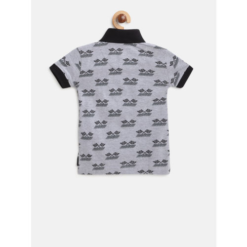 Gini and Jony Boys Grey Melange & Black Printed Polo Collar T-shirt