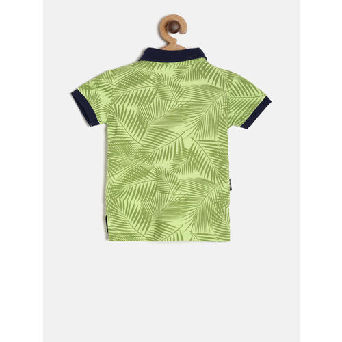 Gini and Jony Boys Green Tropical Print Polo Collar T-shirt