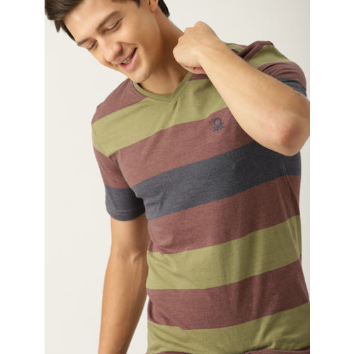 United Colors of Benetton Men Olive Green & Maroon Striped V-Neck T-shirt