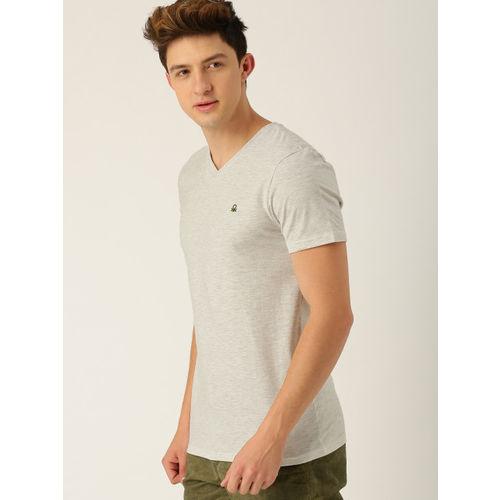 United Colors of Benetton Men Grey Melange Solid V-Neck T-shirt