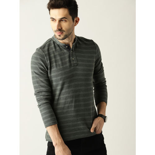 United Colors of Benetton Men Charcoal Grey Striped Mandarin Collar T-shirt