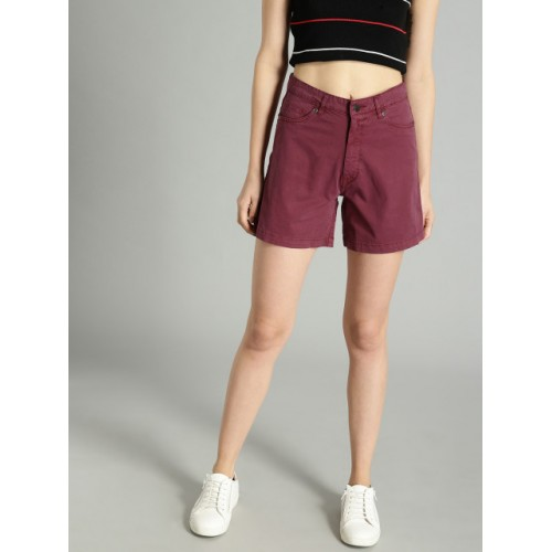 Roadster Burgundy Solid Regular Fit Regular Shorts
