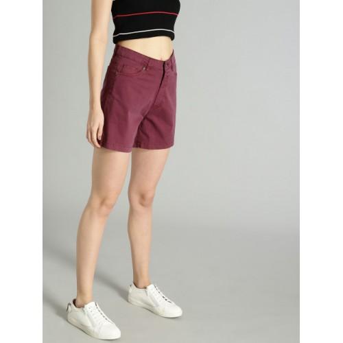 Roadster Burgundy Solid Regular Fit Regular Shorts