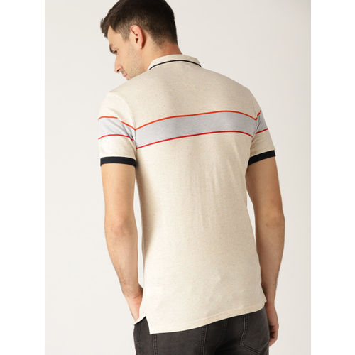 United Colors of Benetton Men Beige Solid Polo Collar T-shirt