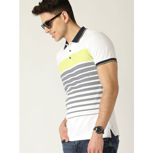 United Colors of Benetton Men White & Navy Blue Striped Polo Collar T-shirt