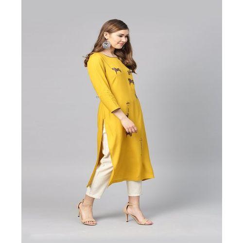 ae8550d68d1 Buy Varanga Mustard Printed Straight Kurti online