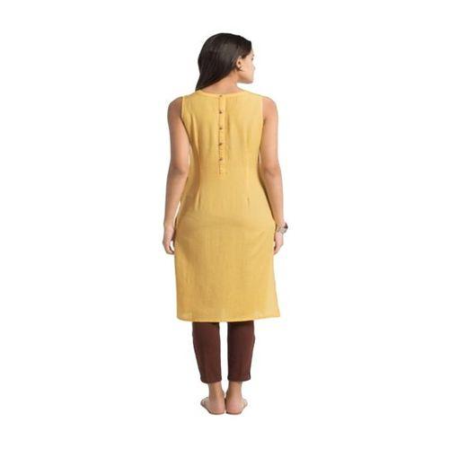 Naari Yellow Cotton Straight Kurti