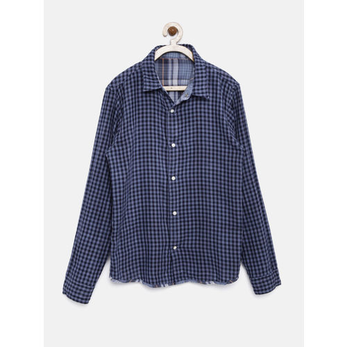 YK Boys Blue Checked Reversible Casual Shirt