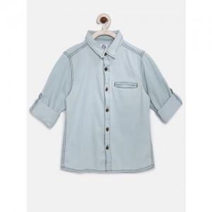 YK Boys Blue Washed Denim Casual Shirt