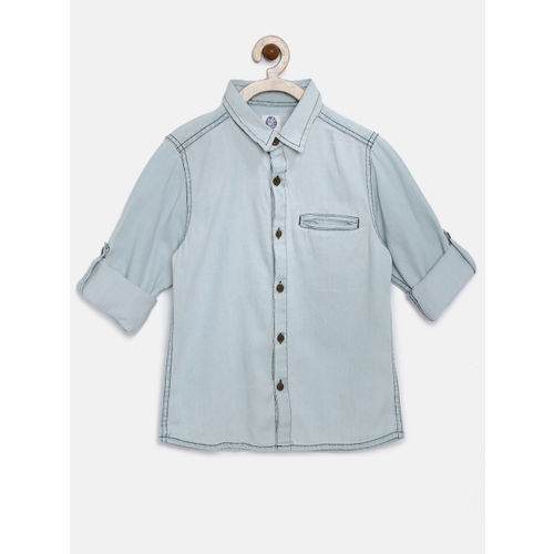 YK Boys Blue Washed Denim Casual Shirt