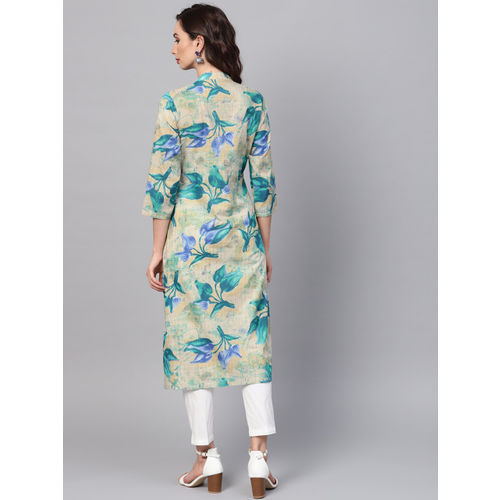 SOJANYA Women Blue & Beige Printed A-Line Kurta